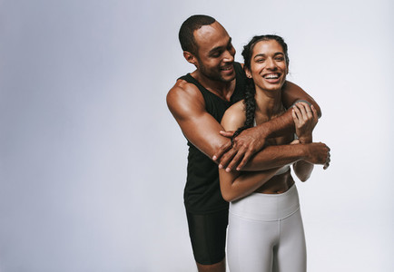 Couple relaxing after workout