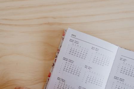 an open planner in the 2021 calendar