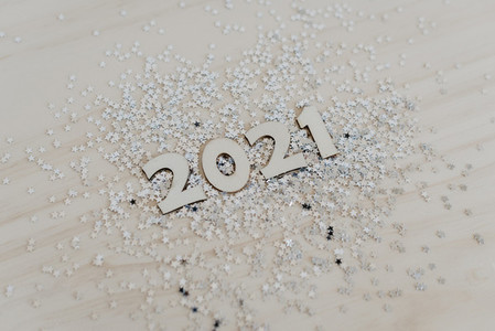 2021 in wooden numbers to celebrate the new year