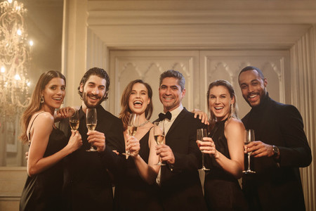 Group of friends celebrating new years eve together