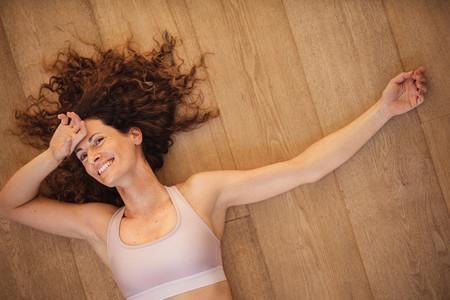 Woman taking a break from workout