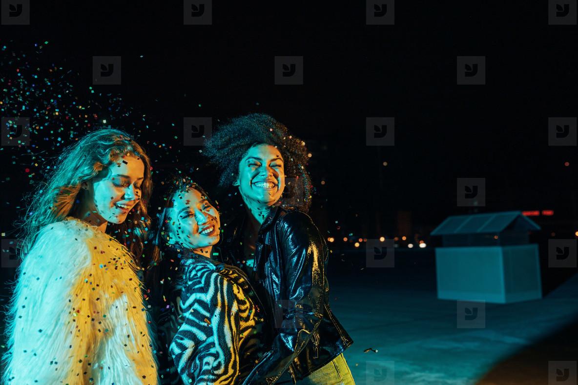 Smiling girls enjoying party