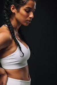 Close up portrait of fit woman