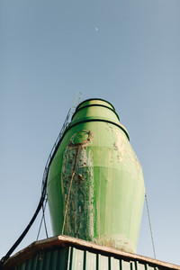 water tank seen from below in a plant nursery