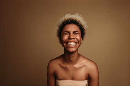 Portrait of happy african american woman