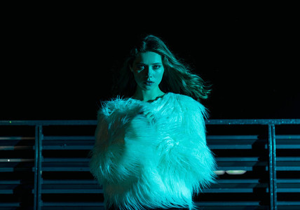 Woman in stylish fur coat