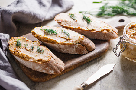 Toasts with pate and fresh dill Healthy appetizer