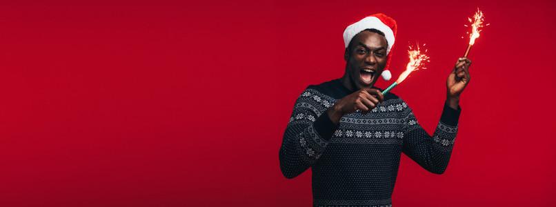 Man celebrating Christmas eve