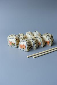 set sushi on blue background