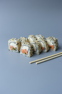 set sushi on blue background