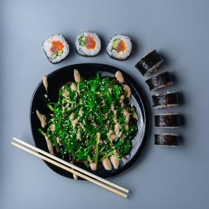 set sushi with seaweed