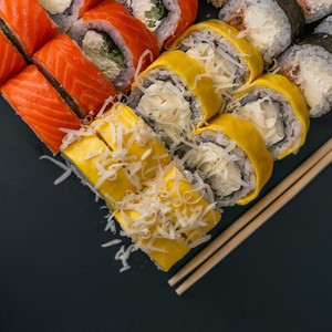 set of sushi on grey background