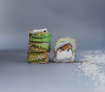 sushi green dragon on gray background