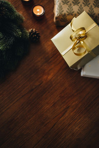 Decorative Christmas things on wooden table