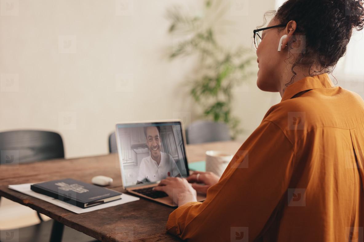 Couple having a video call