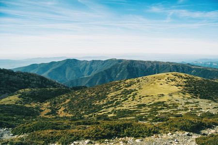 Landscape of some hills and mountains covered of vegetation