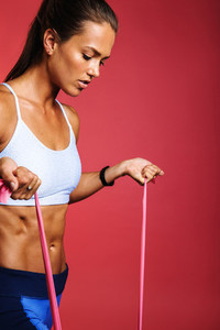 Portrait of fit woman doing strength training