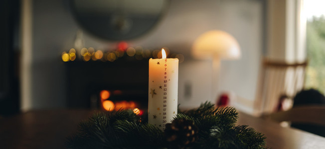 Advent wreath with Christmas candle
