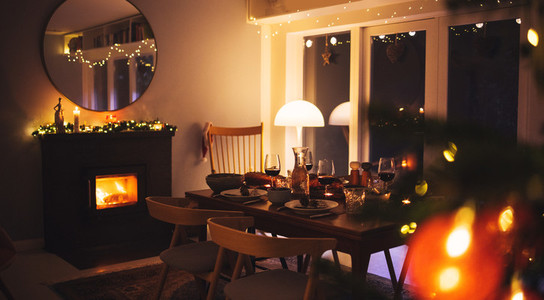 Scandinavian home decorated for Christmas celebration