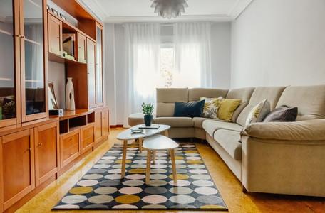 Interior of a living room with corner sofa