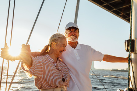 Elderly couple enjoying trip