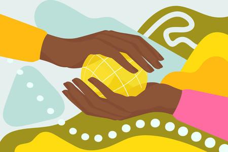 Female hands holding sphere