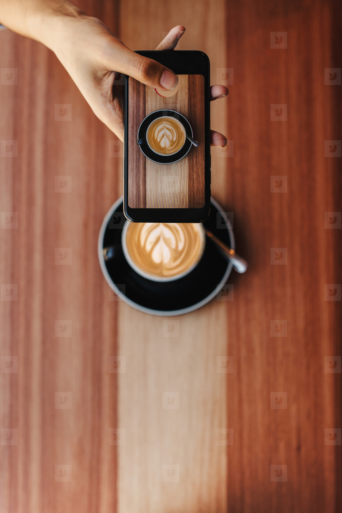Woman sharing her coffee picture on social media