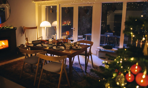 Family home decorated for Christmas