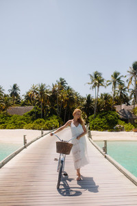 Exploring a tropical beach resort on a bicycle