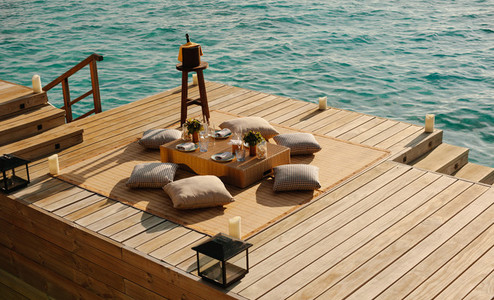Overwater deck at a luxury resort