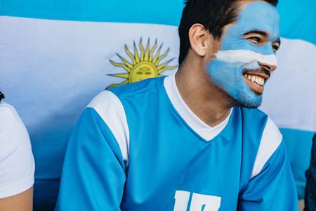 Devoted Argentina soccer fan in stadium