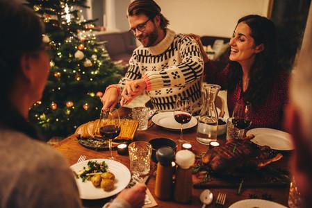 European family having christmas dinner
