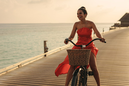Exciting bicycle ride on a jetty