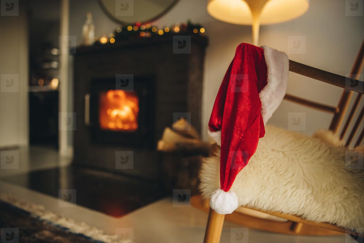 Santa hat on wooden chair