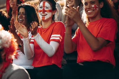 England football fans applauding during a match