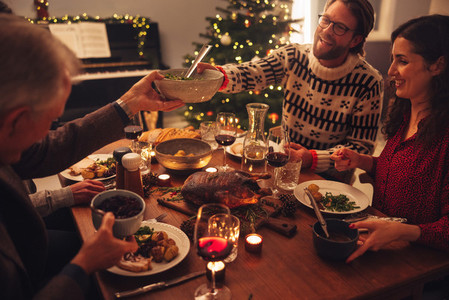 Family having a Christmas eve dinner together