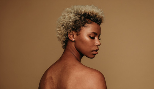 Side view portrait of african american woman