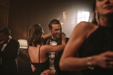 Beautiful couple dancing at a gala party