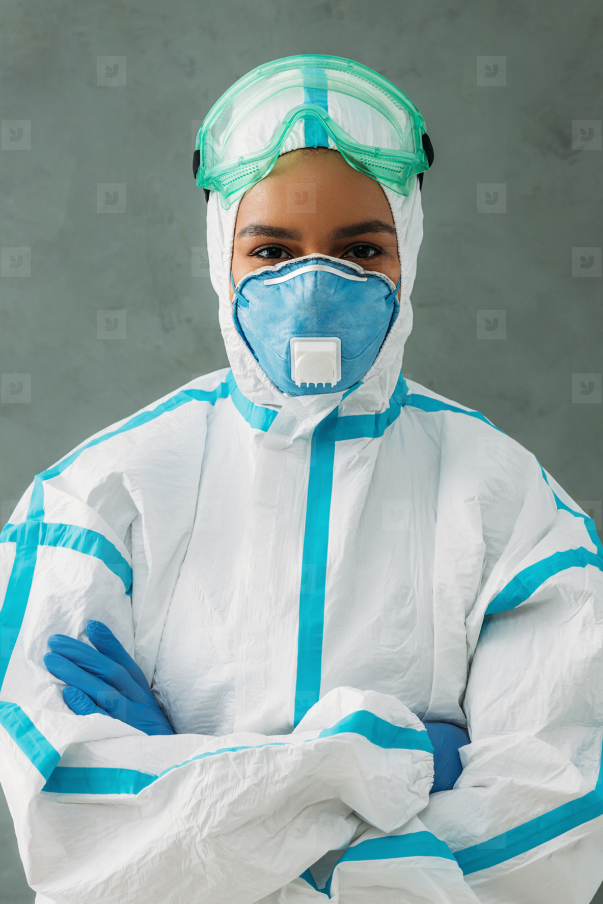Female nurse wearing protective
