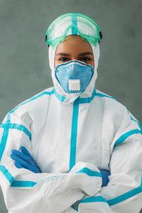 Female nurse wearing protective