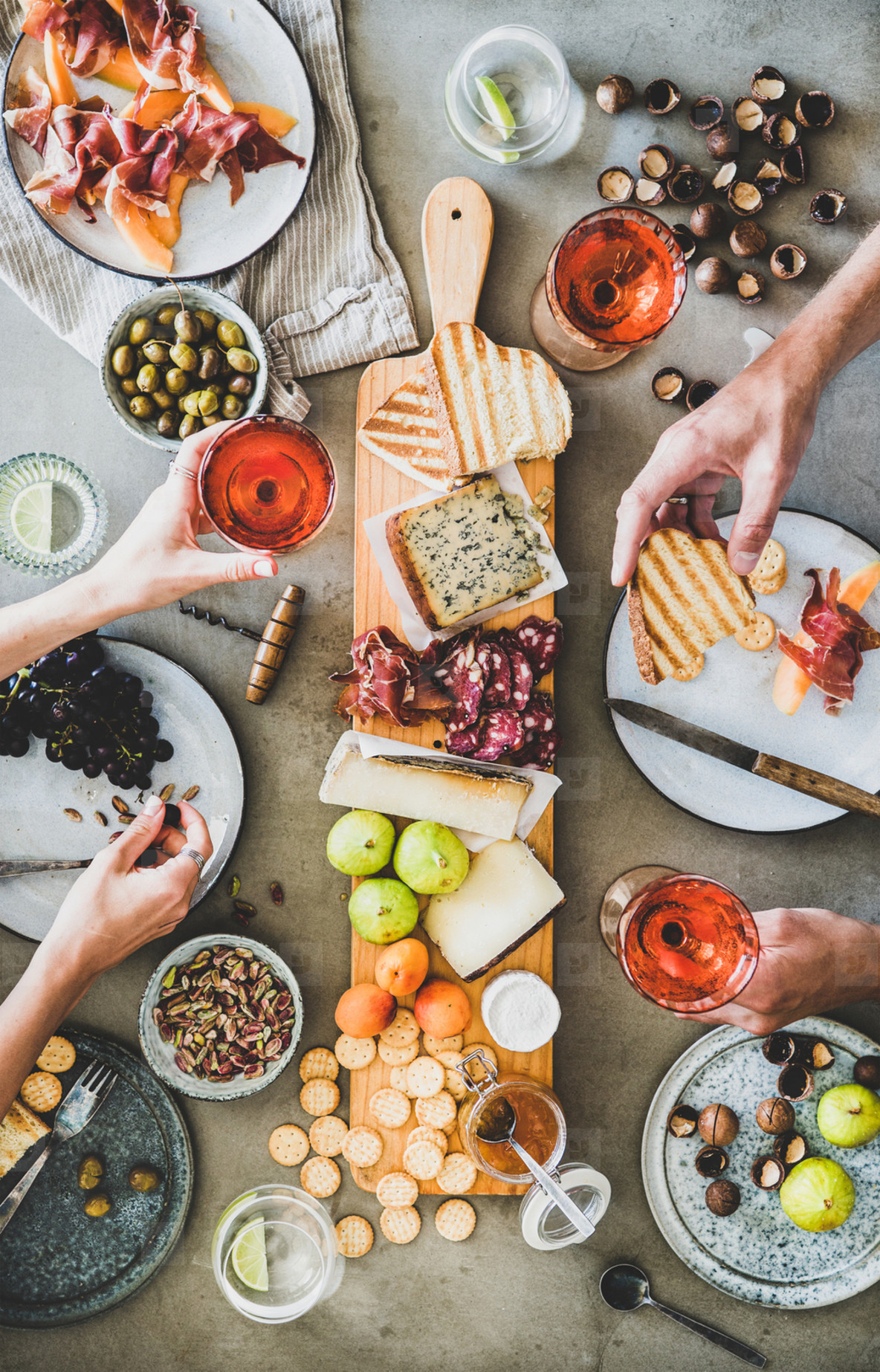Seasonal picnic with rose wine  cheese  charcuterie and snacks