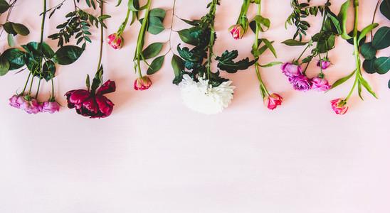 Purple peonies pink roses and tulips white chrysanthemums