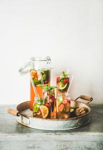 Fresh homemade strawberry and basil lemonade copy space