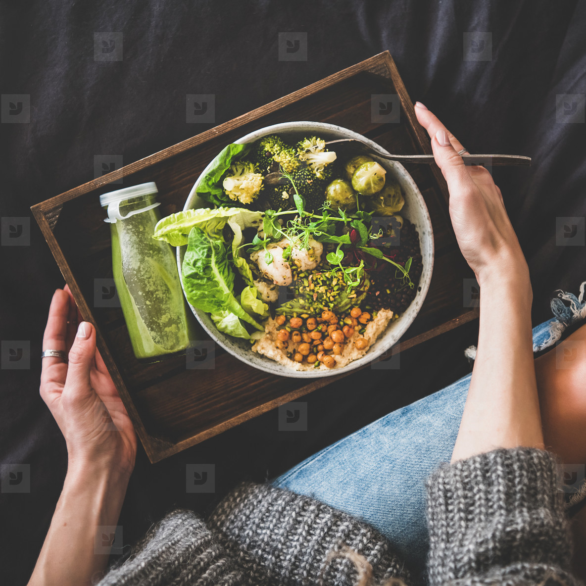 Healthy vegan bowl  smoothie and woman in jeans  square crop