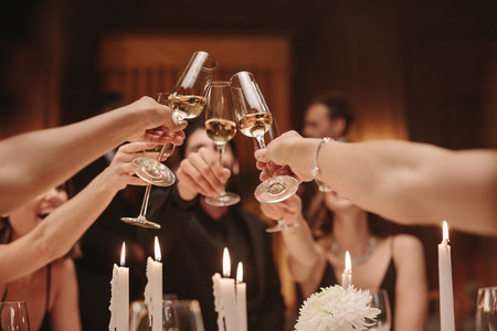 Group of friends toasting champagne at a dinner party