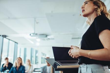 Confident businesswoman delivering a presentation