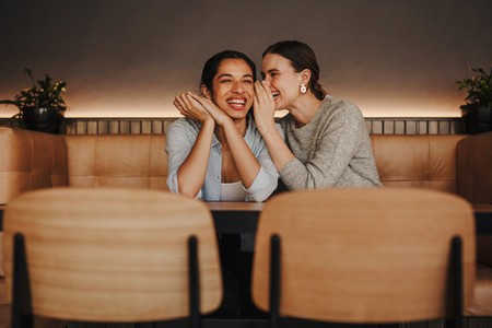 Two women gossiping in a coffee shop