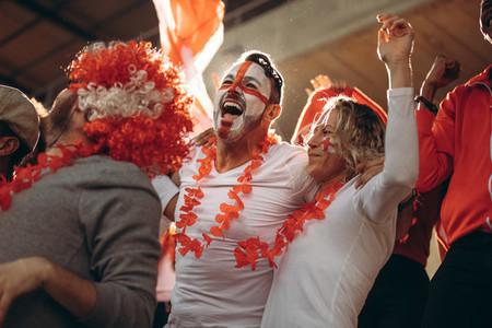 English spectators enjoying after a win at stadium