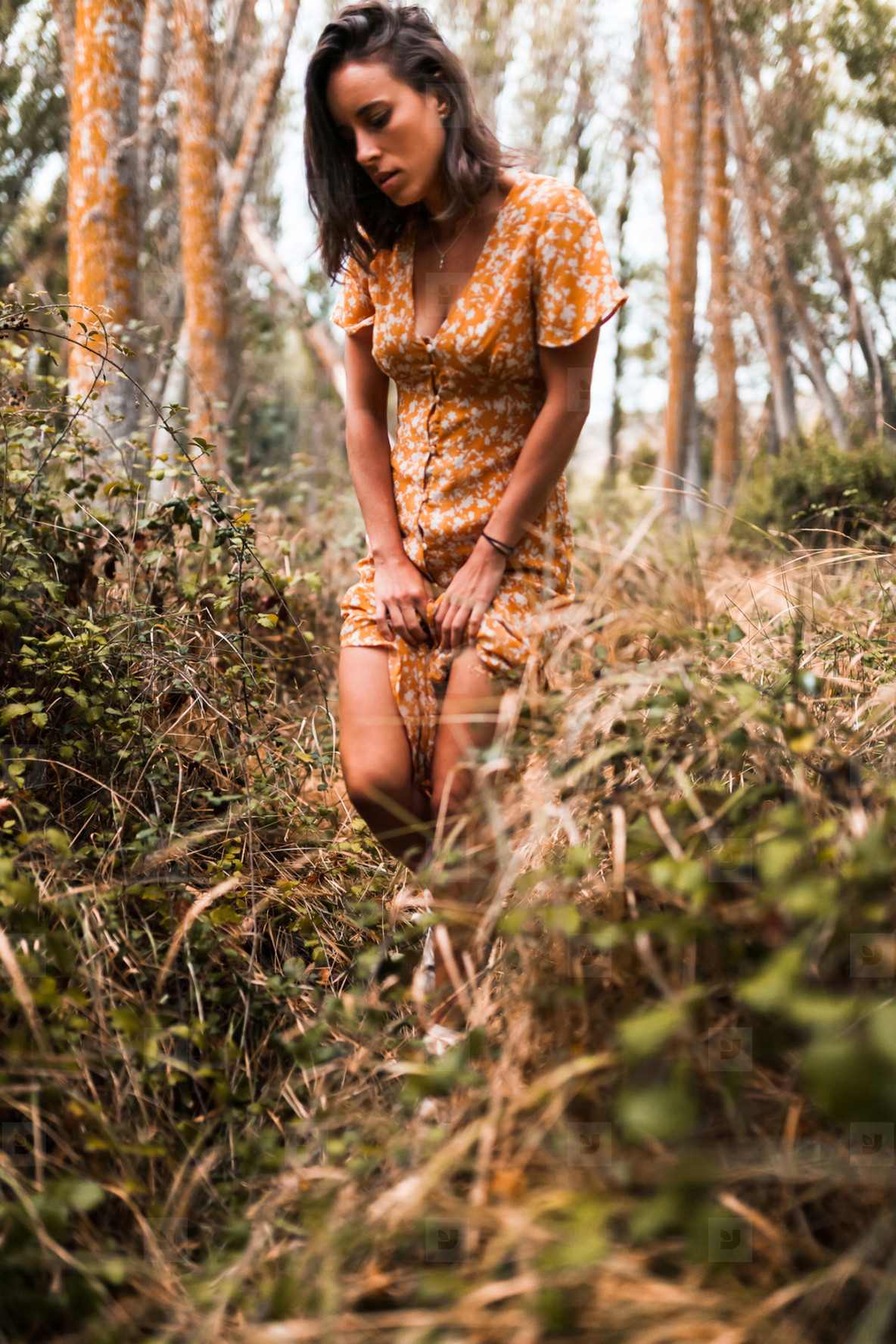 Outdoor portrait of a beautiful brunette woman wearing a dress in the forest