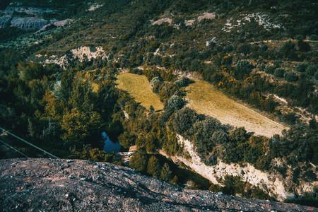 Landscape overlooking wooded hillsides